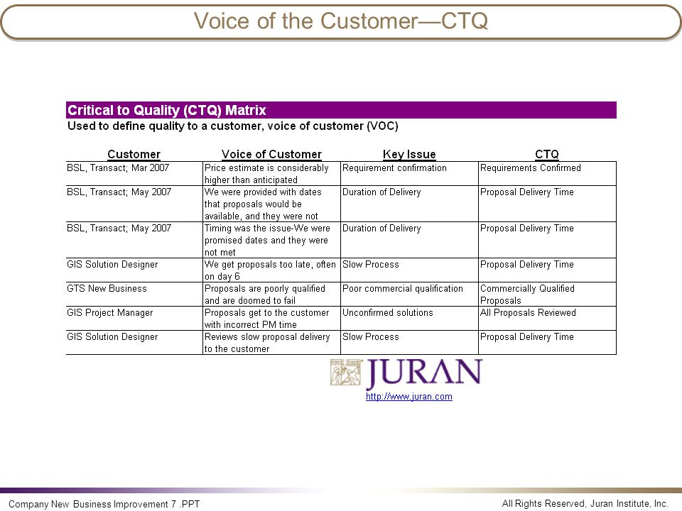 Voice of the Customer—CTQ