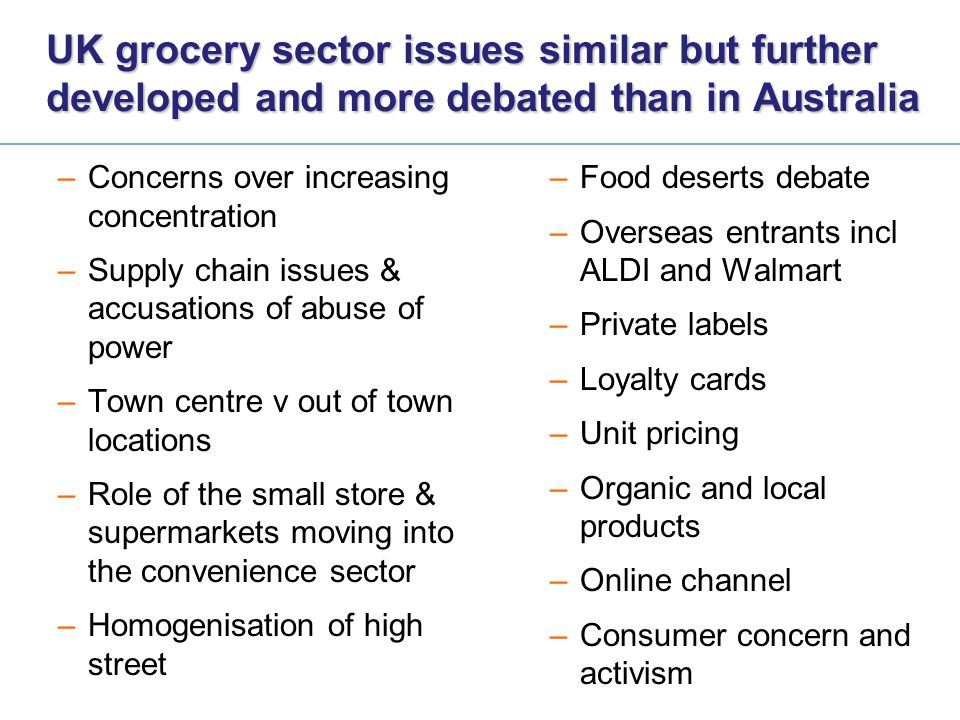 UK grocery sector issues similar but further developed and more debated than in Australia