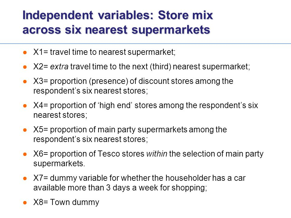 Independent variables: Store mix across six nearest supermarkets