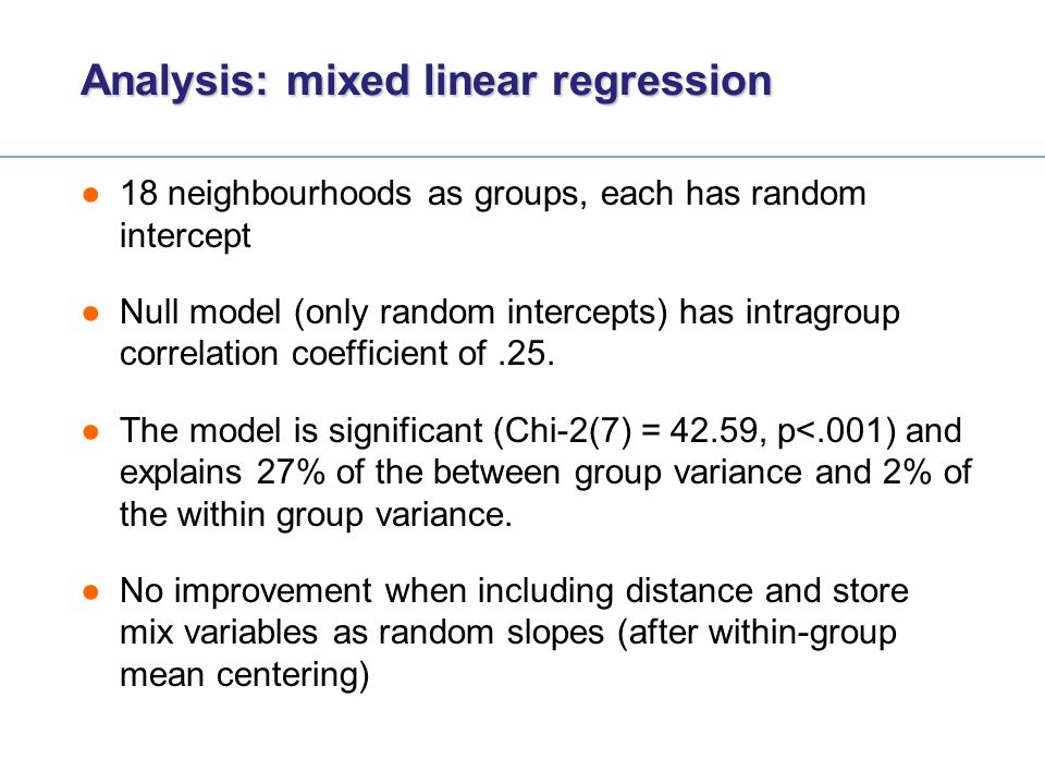Analysis: mixed linear regression