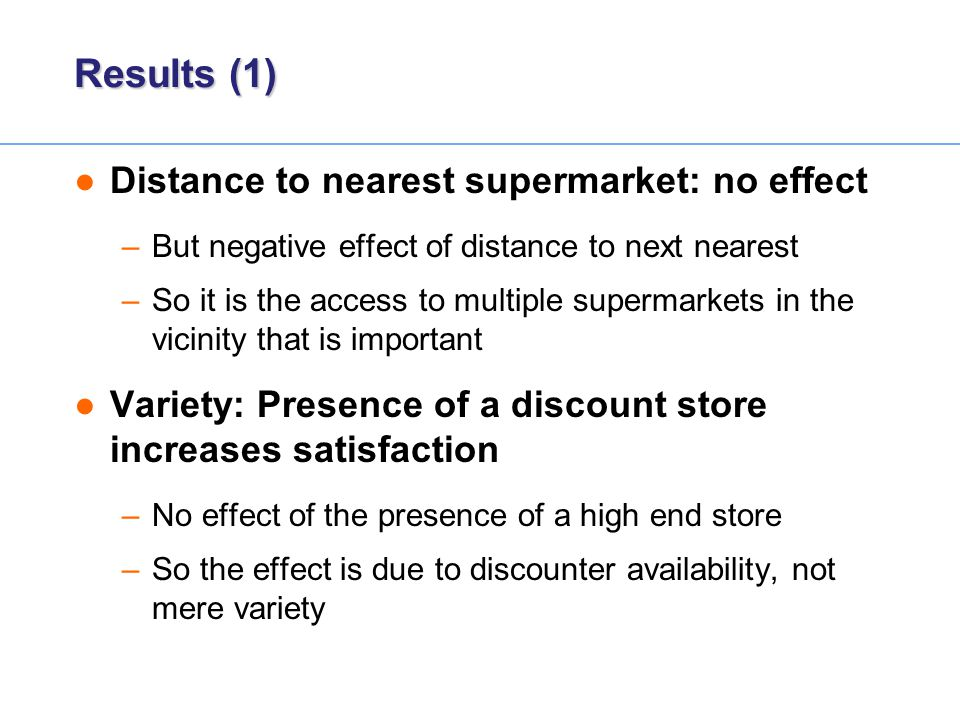 Results (1) Distance to nearest supermarket: no effect