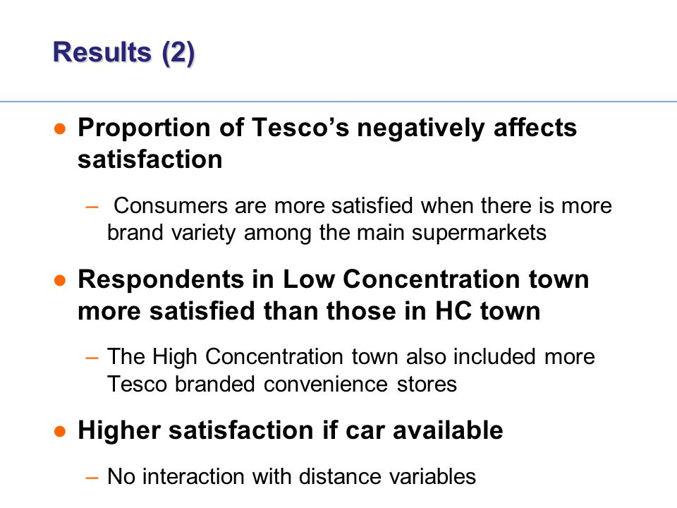 Results (2) Proportion of Tesco's negatively affects satisfaction