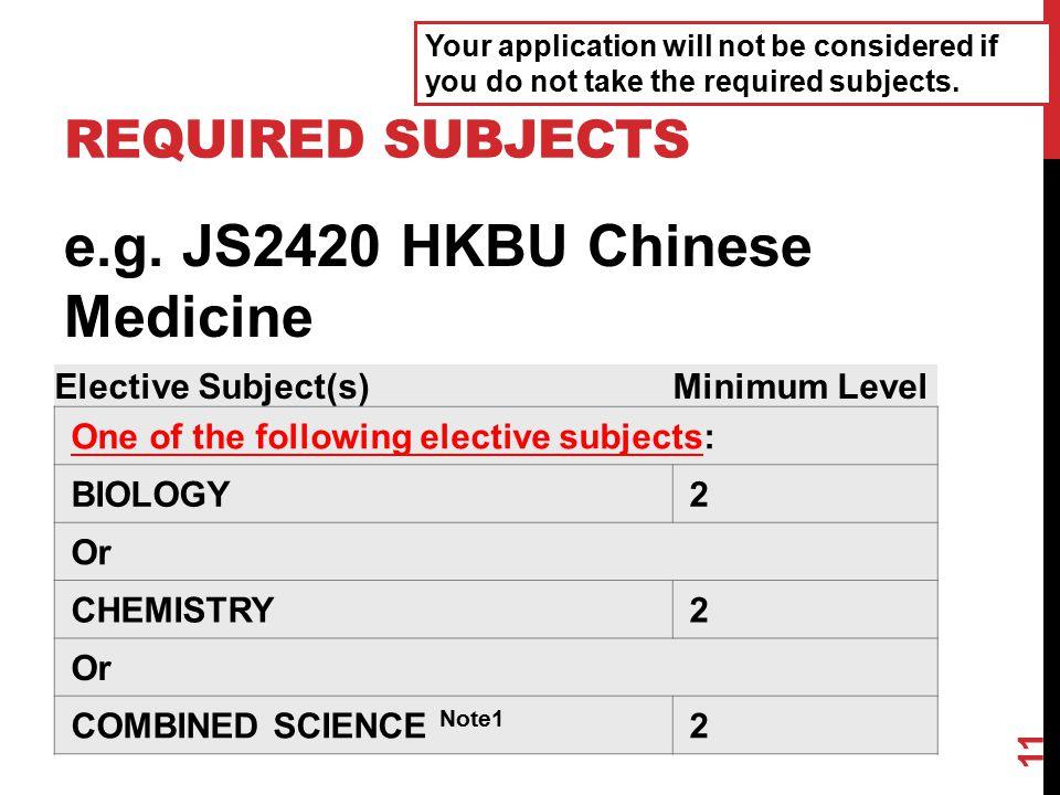 e.g. JS2420 HKBU Chinese Medicine
