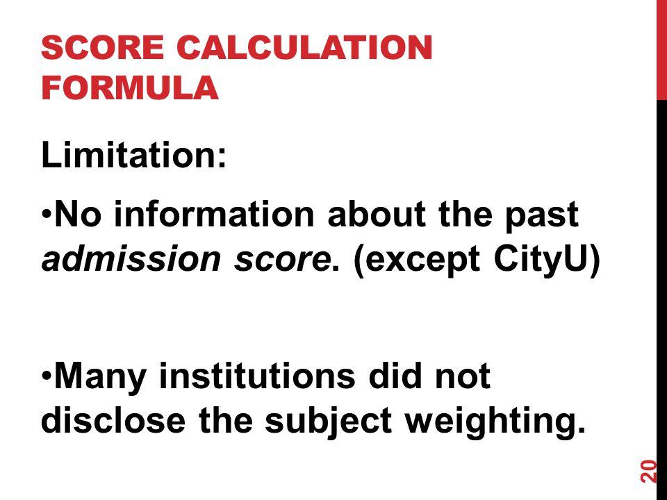 SCORE CALCULATION FORMULA