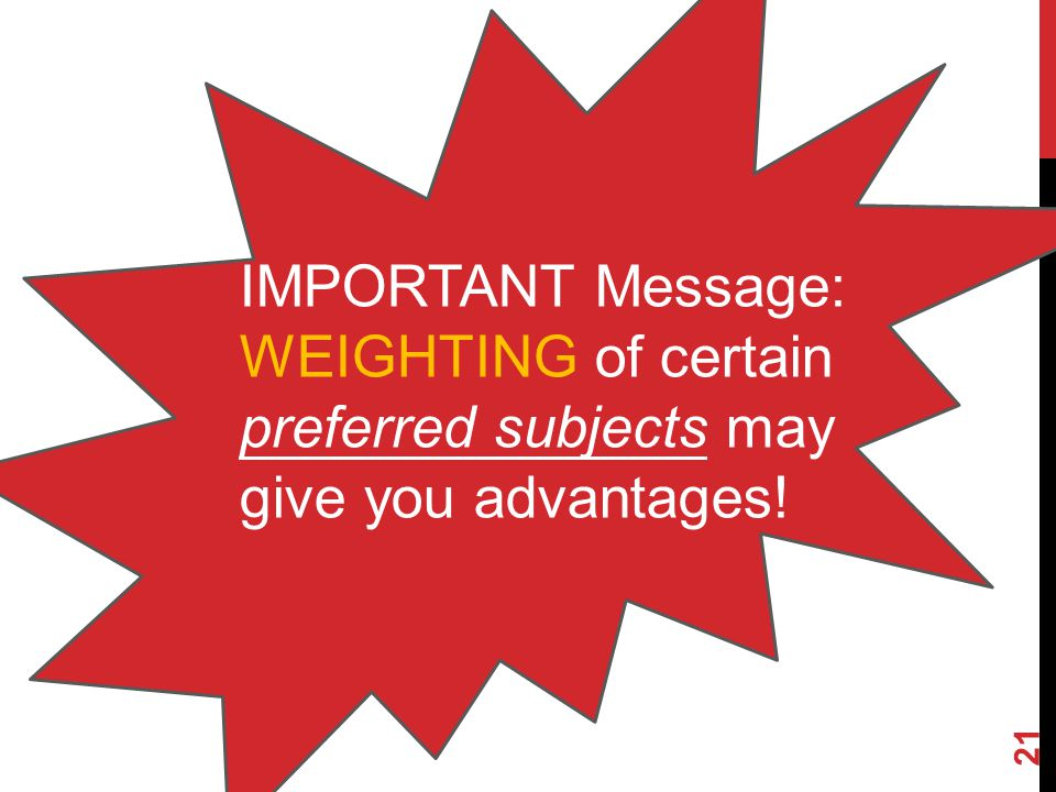 IMPORTANT Message: WEIGHTING of certain preferred subjects may give you advantages!
