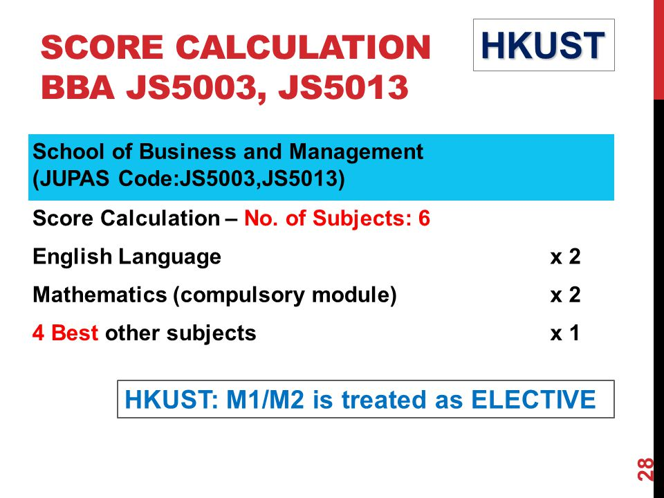 SCORE CALCULATION BBA JS5003, JS5013