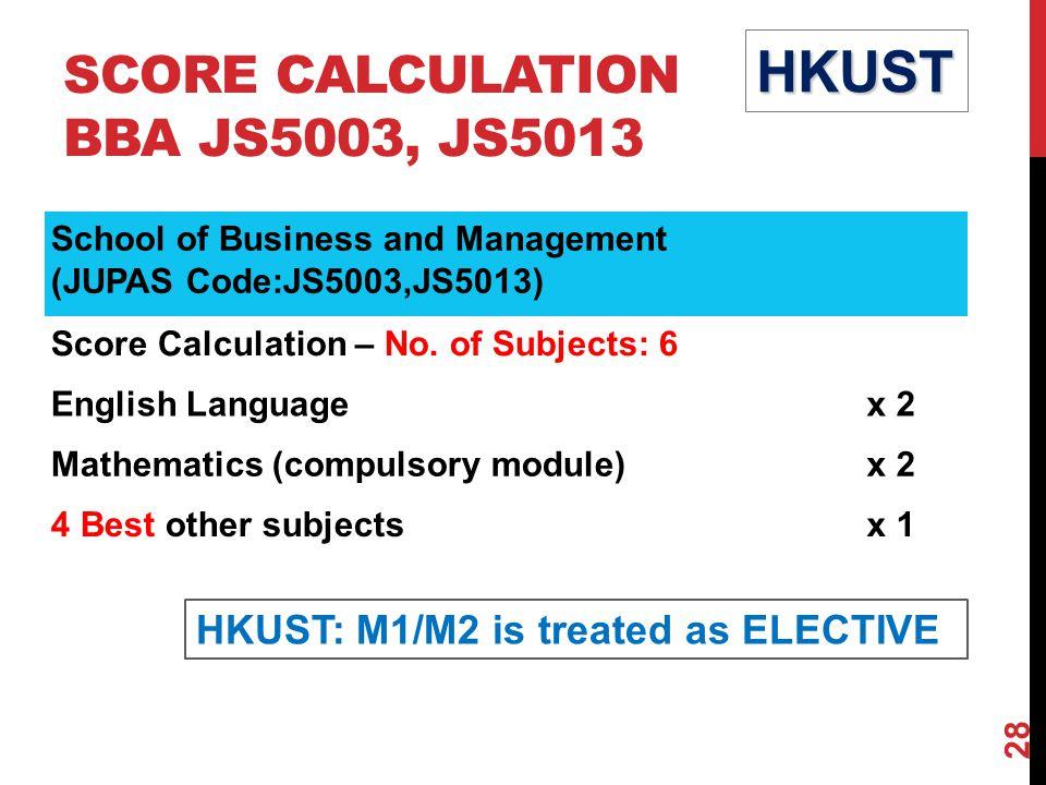 SCORE CALCULATION BBA JS5003, JS5013
