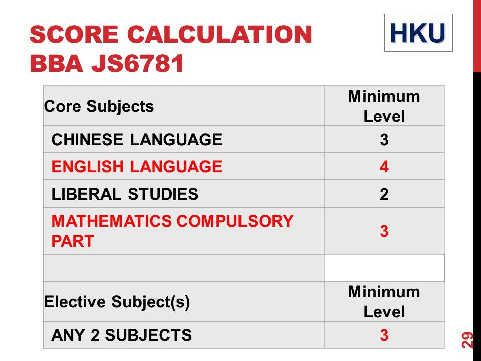 SCORE CALCULATION BBA JS6781