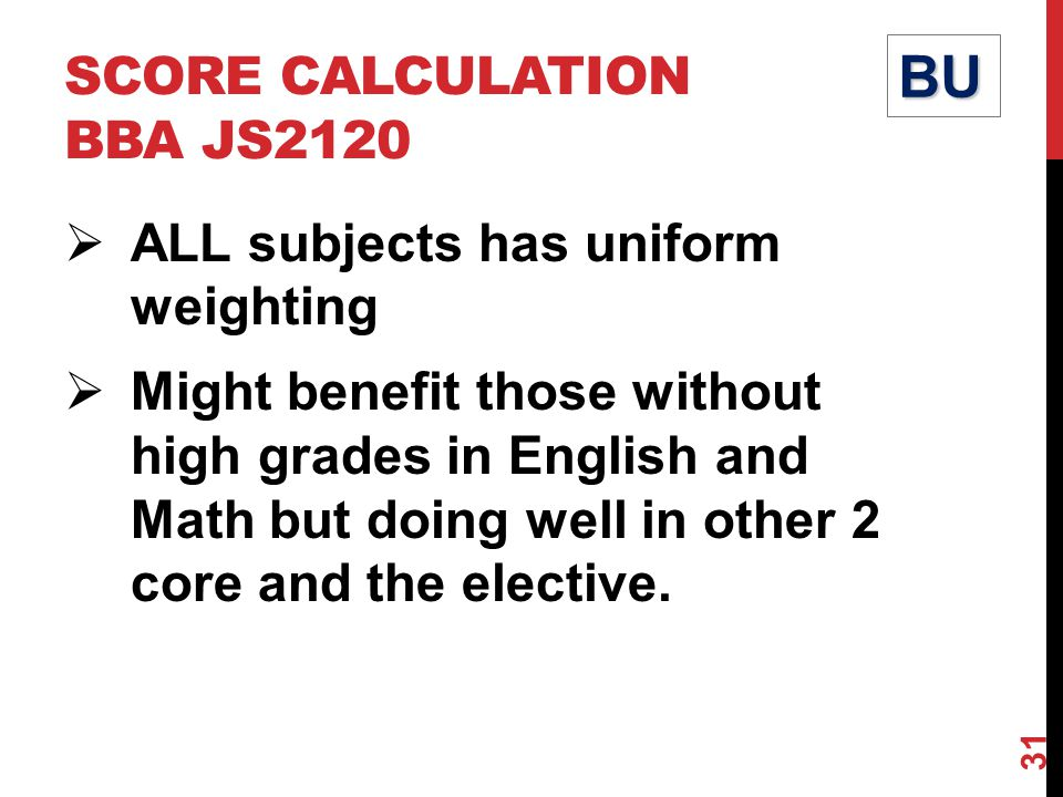 SCORE CALCULATION BBA JS2120