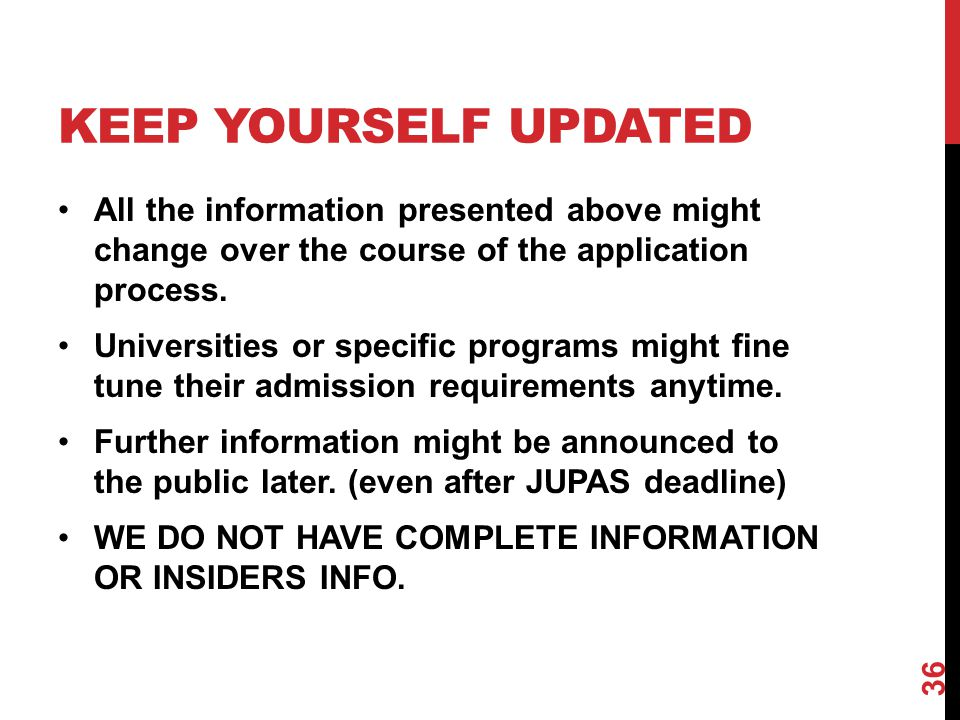 KEEP YOURSELF UPDATED All the information presented above might change over the course of the application process.