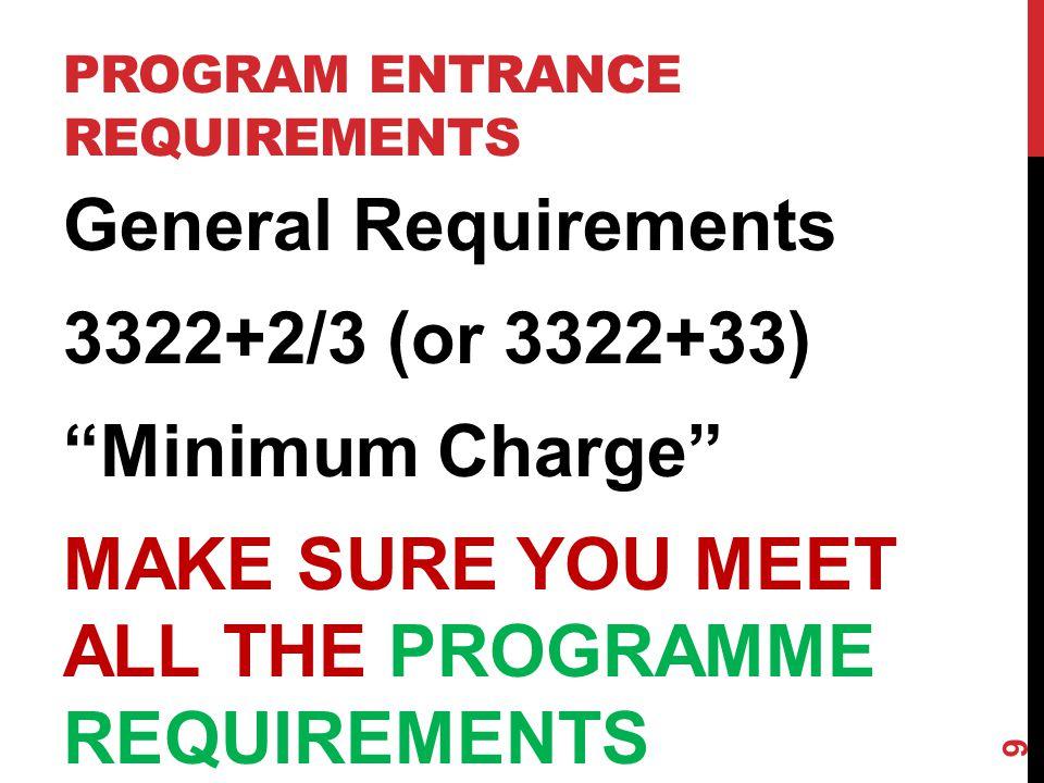 PROGRAM ENTRANCE REQUIREMENTS