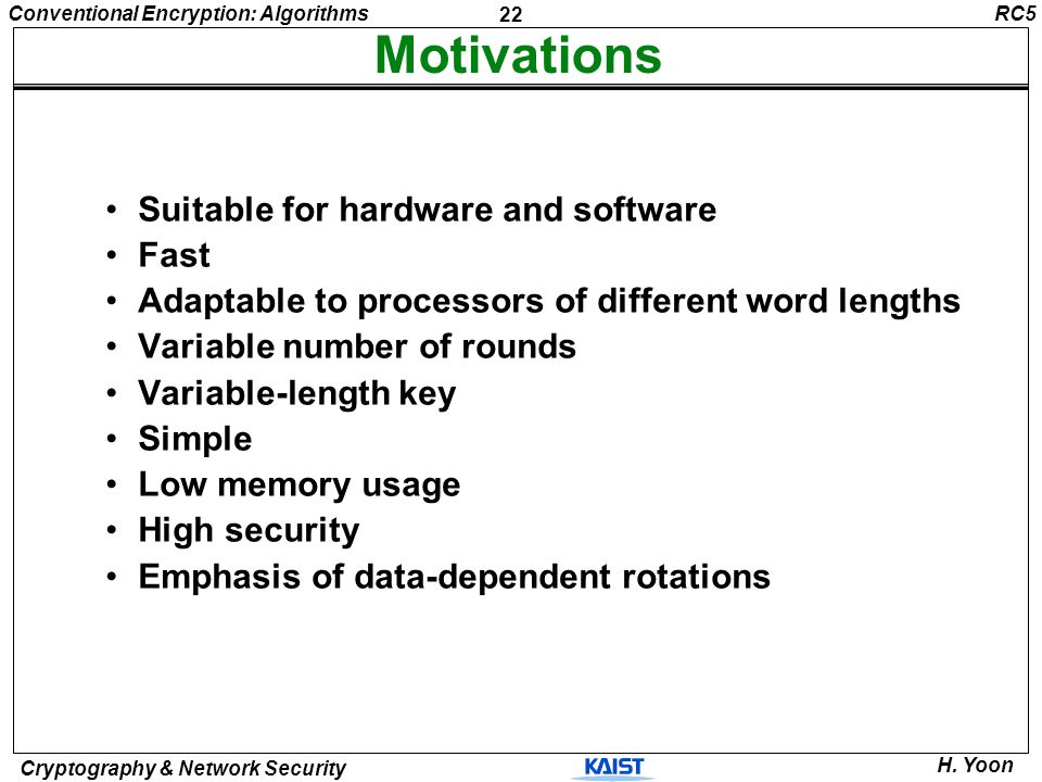 Motivations Suitable for hardware and software Fast