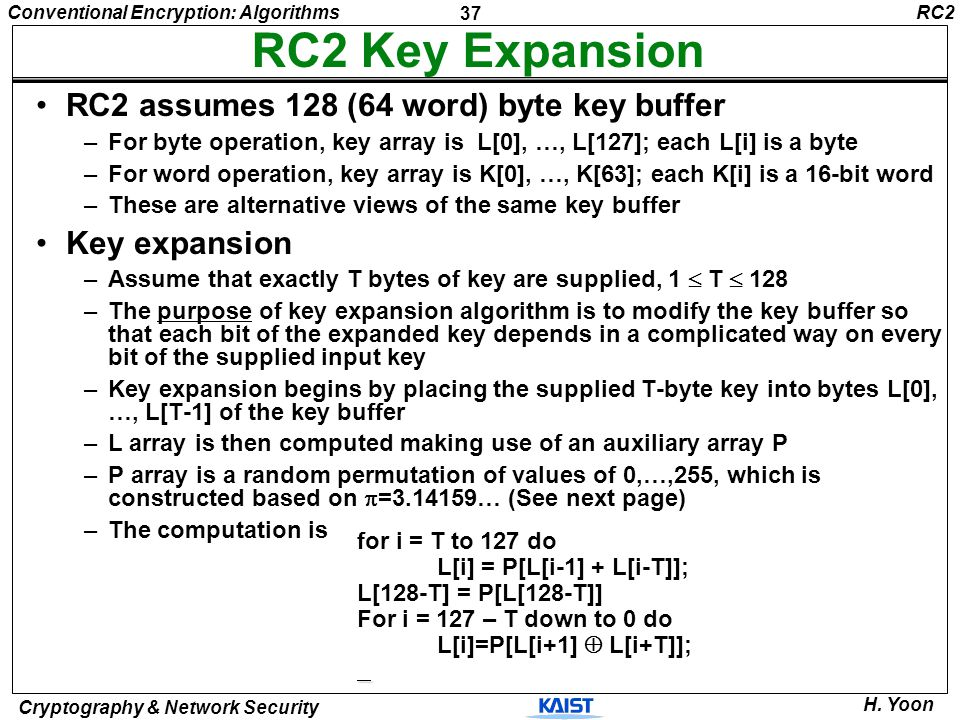 RC2 Key Expansion RC2 assumes 128 (64 word) byte key buffer