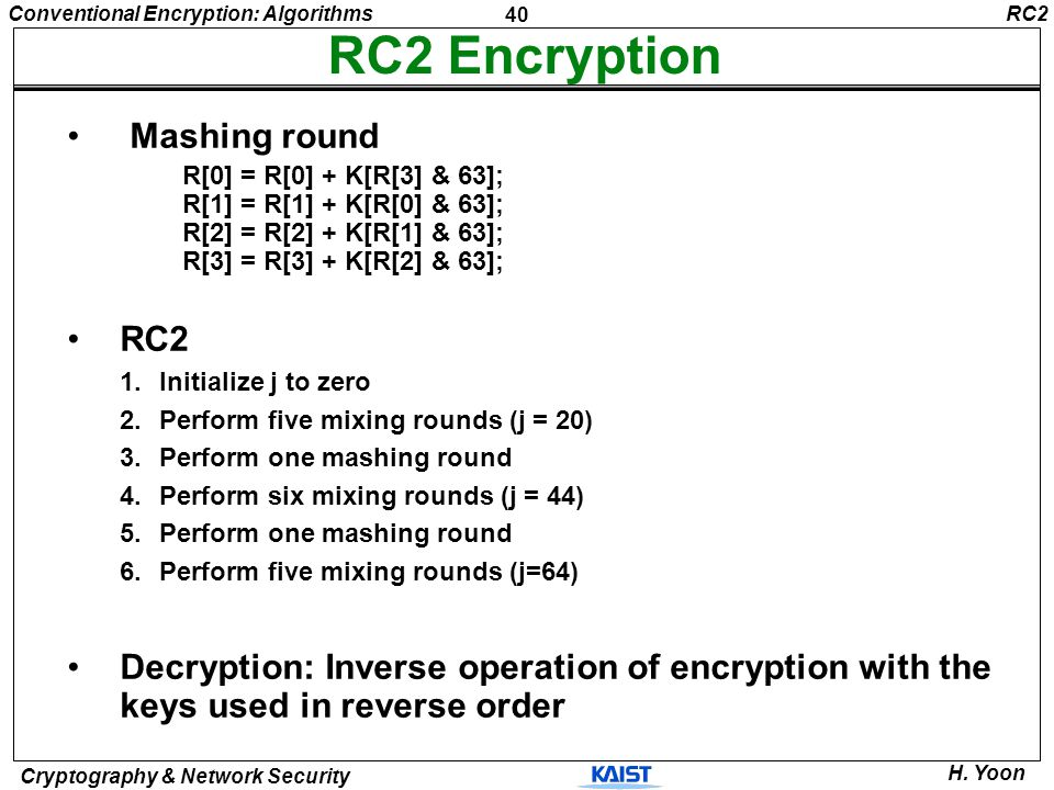 RC2 Encryption Mashing round RC2