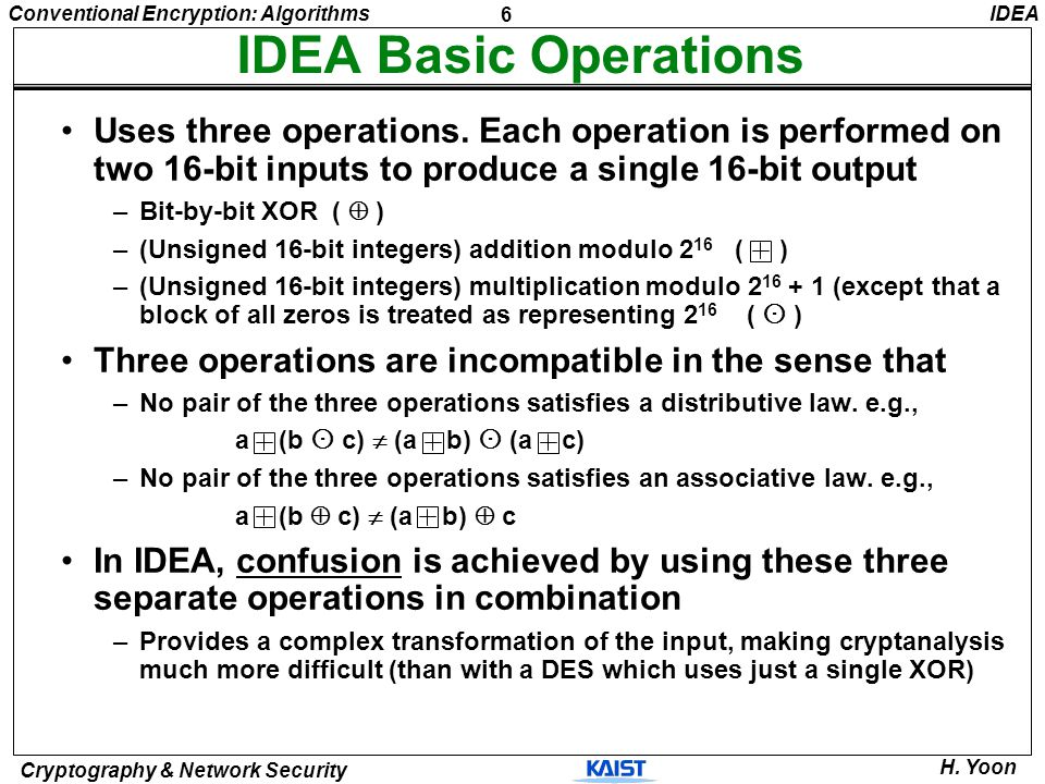 IDEA IDEA Basic Operations. Uses three operations. Each operation is performed on two 16-bit inputs to produce a single 16-bit output.