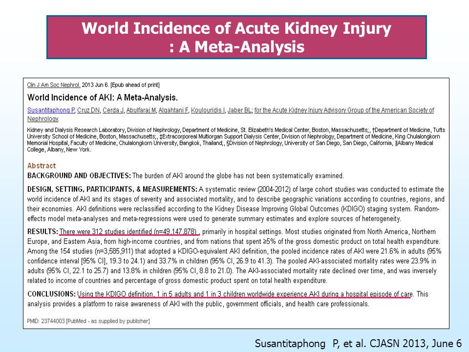 World Incidence of Acute Kidney Injury