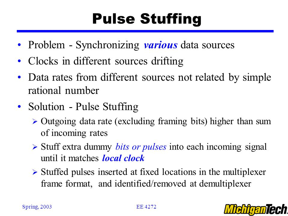 Pulse Stuffing Problem - Synchronizing various data sources