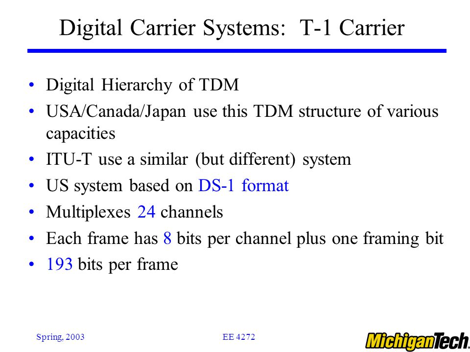 Digital Carrier Systems: T-1 Carrier