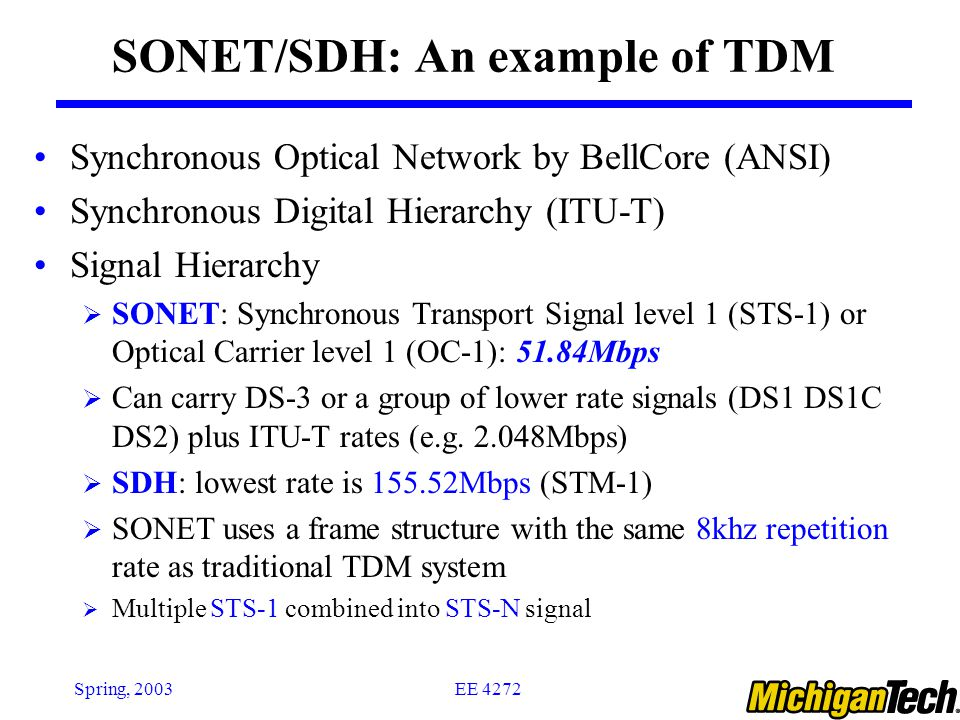 SONET/SDH: An example of TDM