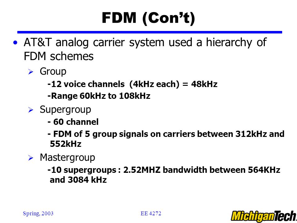 FDM (Con't) AT&T analog carrier system used a hierarchy of FDM schemes