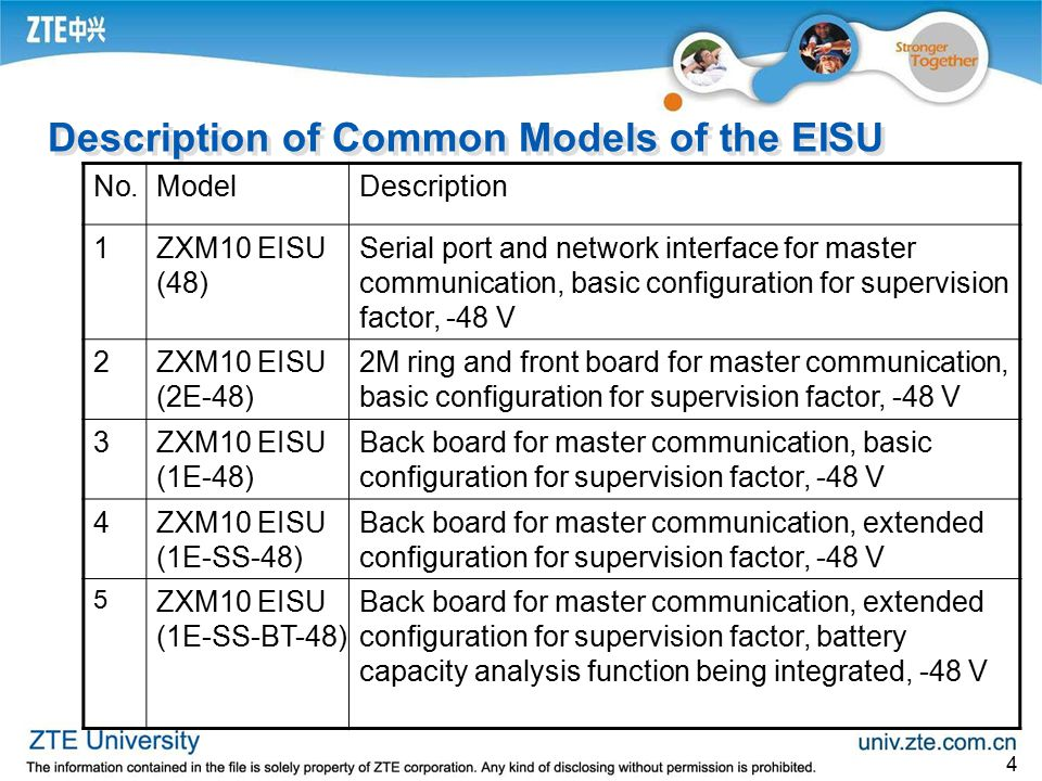 Description of Common Models of the EISU