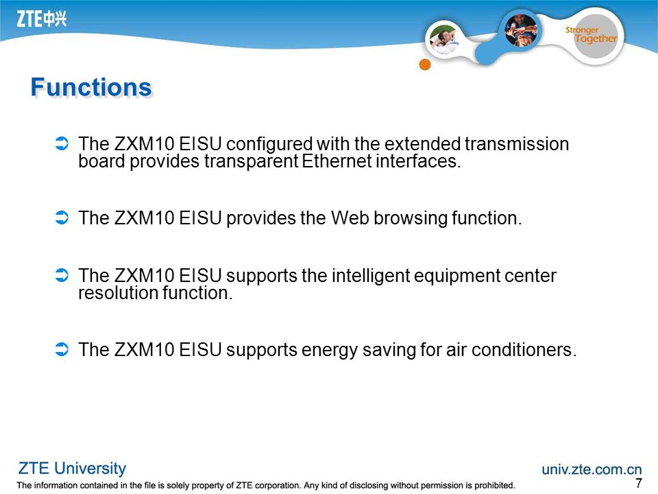 Functions The ZXM10 EISU configured with the extended transmission board provides transparent Ethernet interfaces.