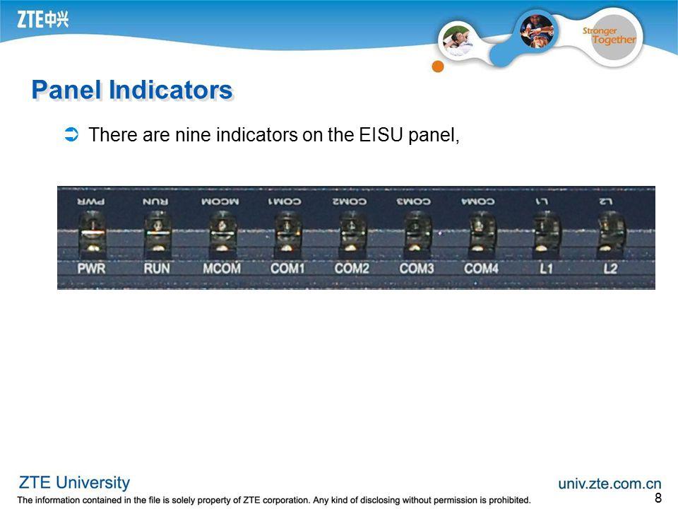 Panel Indicators There are nine indicators on the EISU panel,
