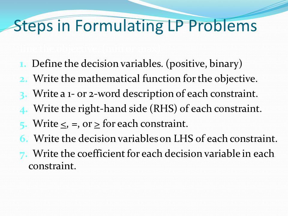 Steps in Formulating LP Problems