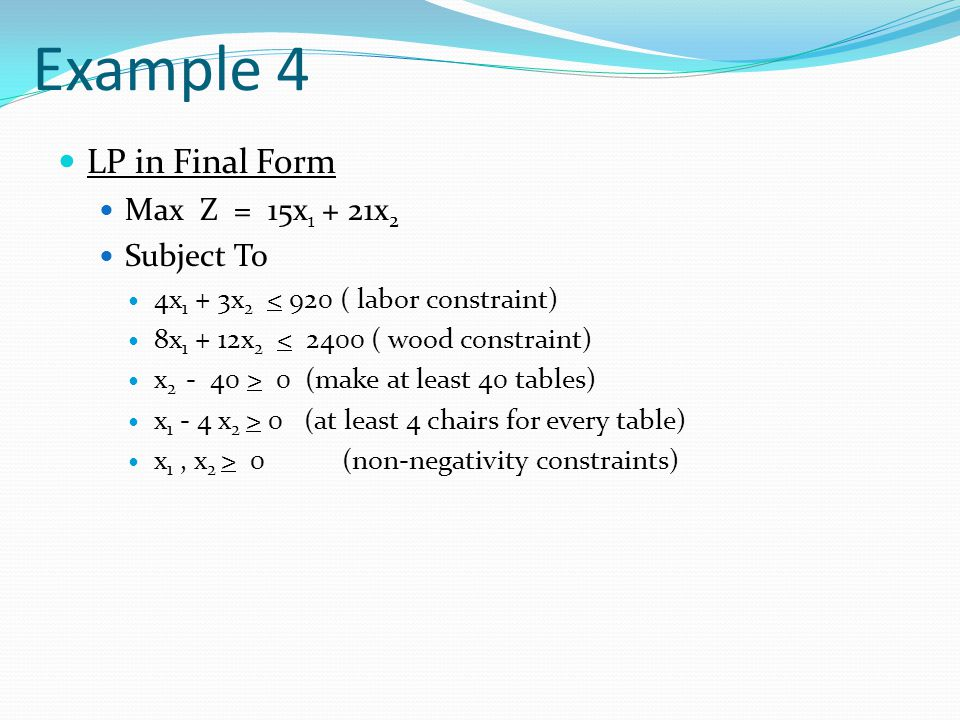 Example 4 LP in Final Form Max Z = 15x1 + 21x2 Subject To