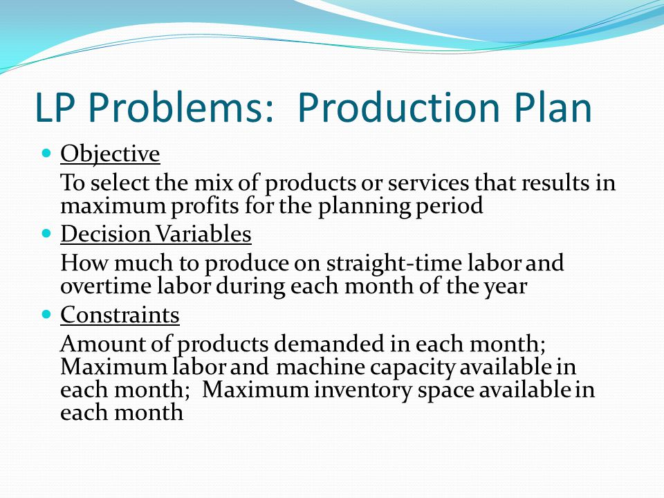 LP Problems: Production Plan