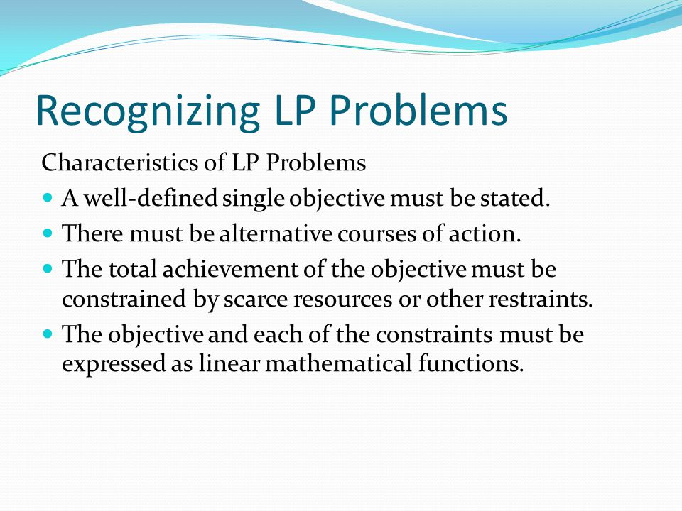 Recognizing LP Problems