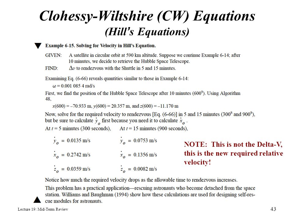 Clohessy-Wiltshire (CW) Equations (Hill's Equations)