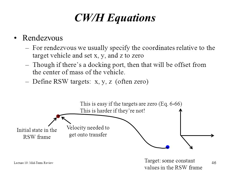 CW/H Equations Rendezvous