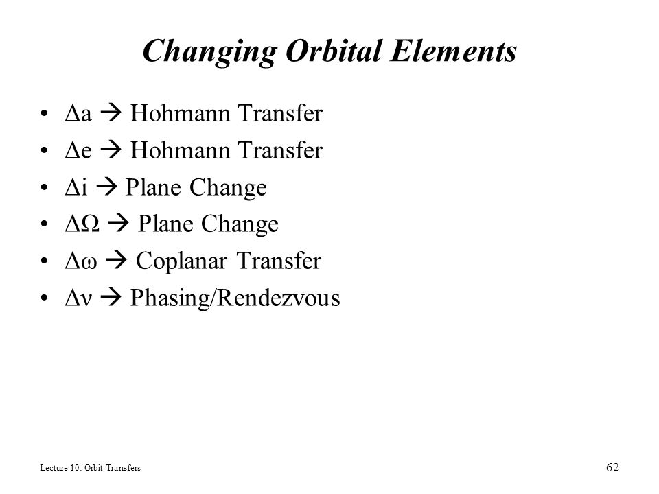 Changing Orbital Elements
