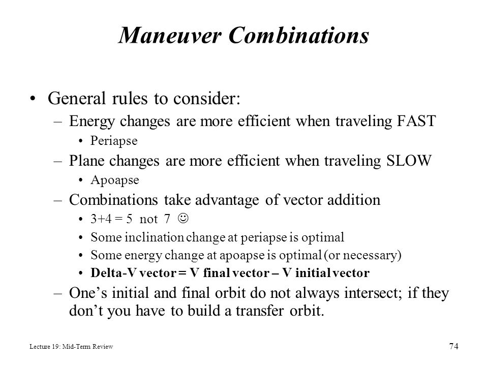 Maneuver Combinations