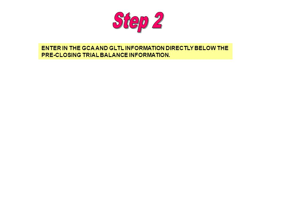 Step 2 ENTER IN THE GCA AND GLTL INFORMATION DIRECTLY BELOW THE