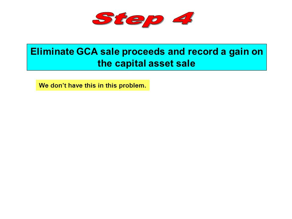 Eliminate GCA sale proceeds and record a gain on
