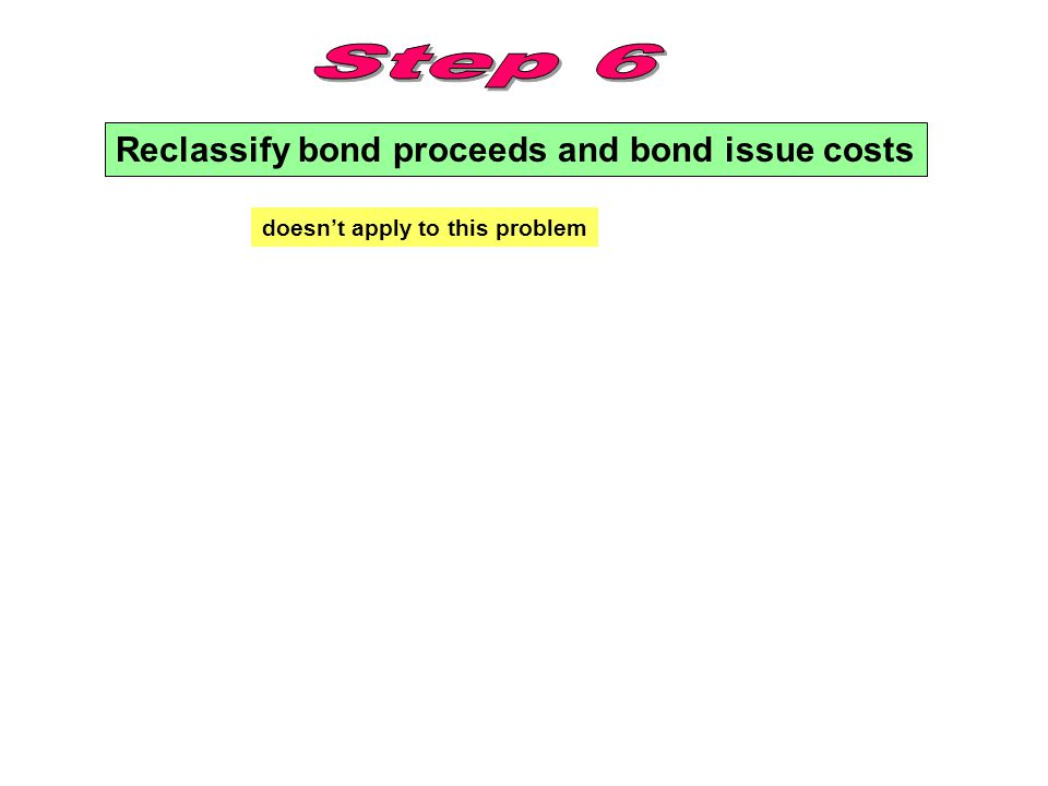 Reclassify bond proceeds and bond issue costs