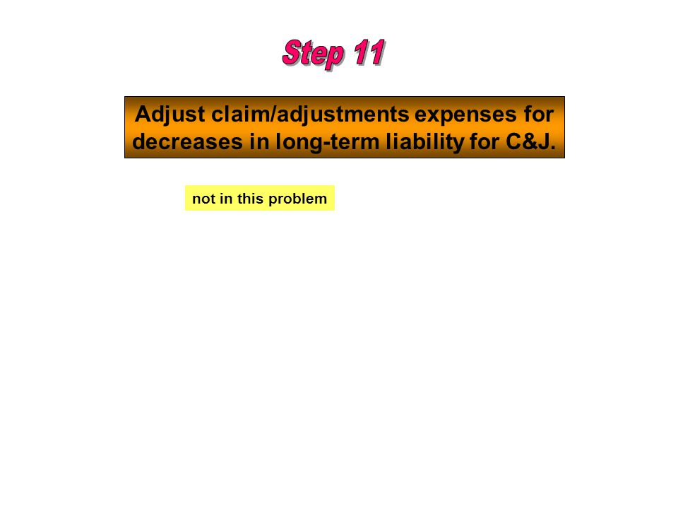 Step 11 Adjust claim/adjustments expenses for
