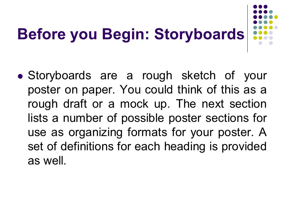 Before you Begin: Storyboards