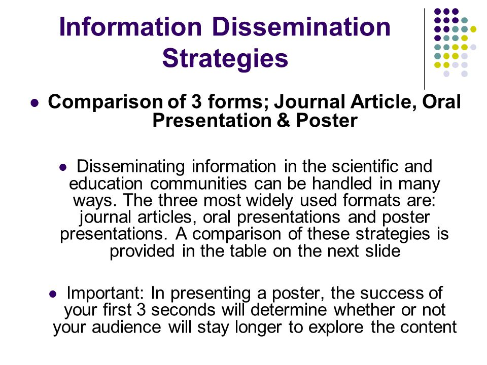 Information Dissemination Strategies