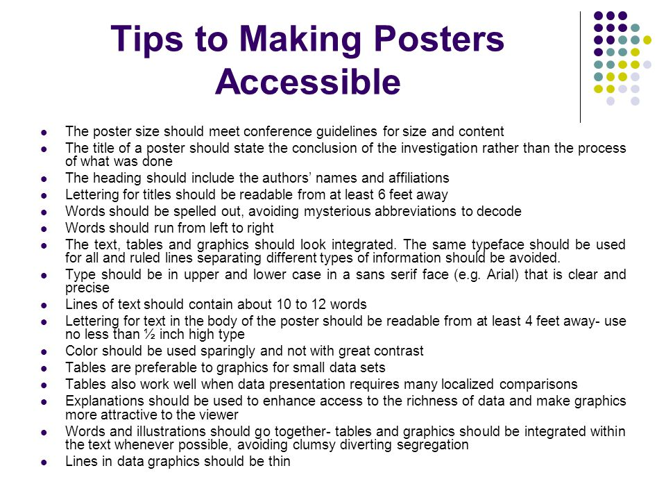 Tips to Making Posters Accessible