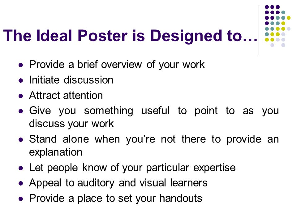 The Ideal Poster is Designed to…