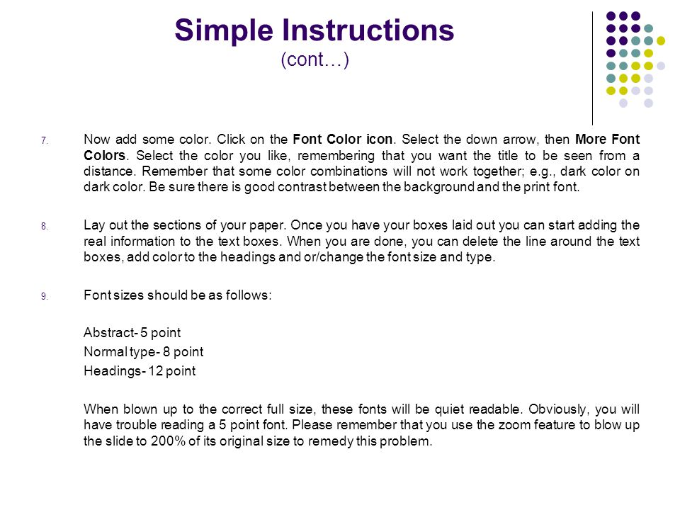 Simple Instructions (cont…)