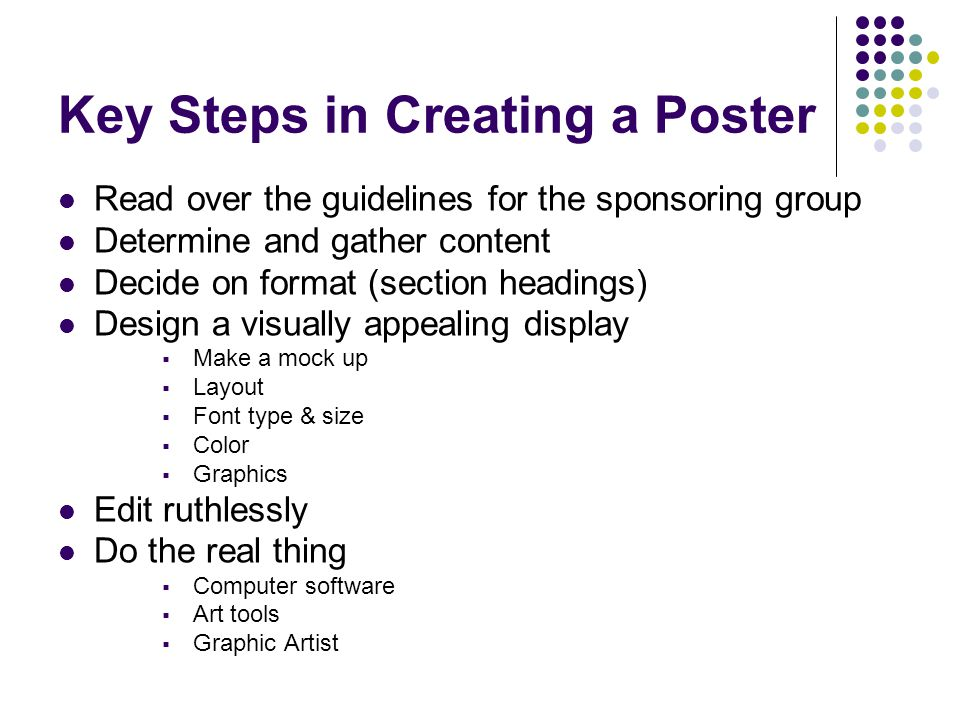 Key Steps in Creating a Poster