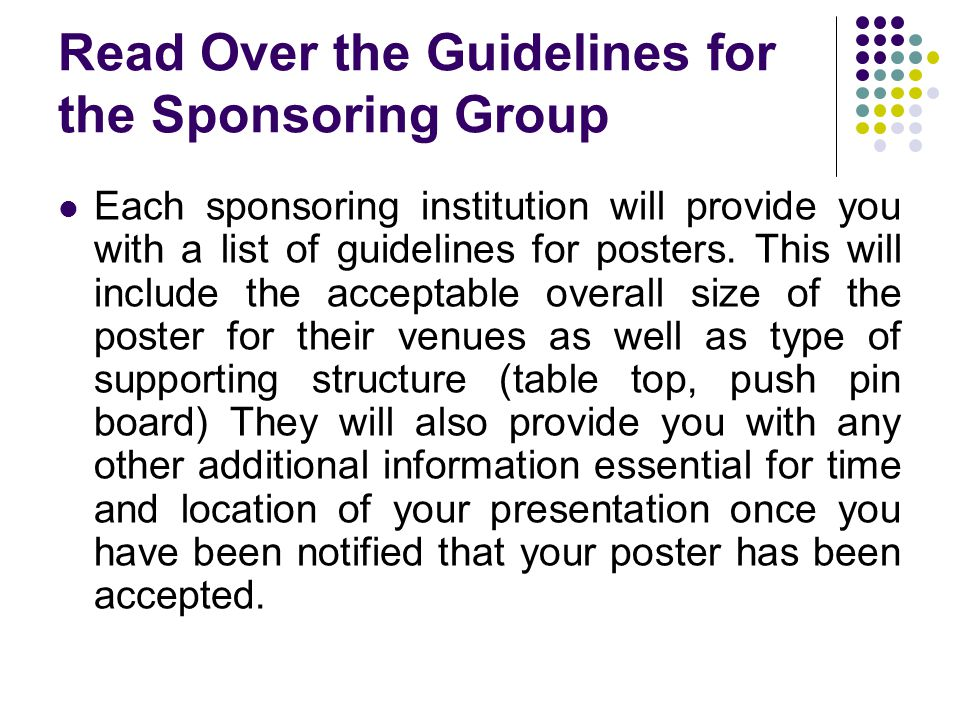 Read Over the Guidelines for the Sponsoring Group