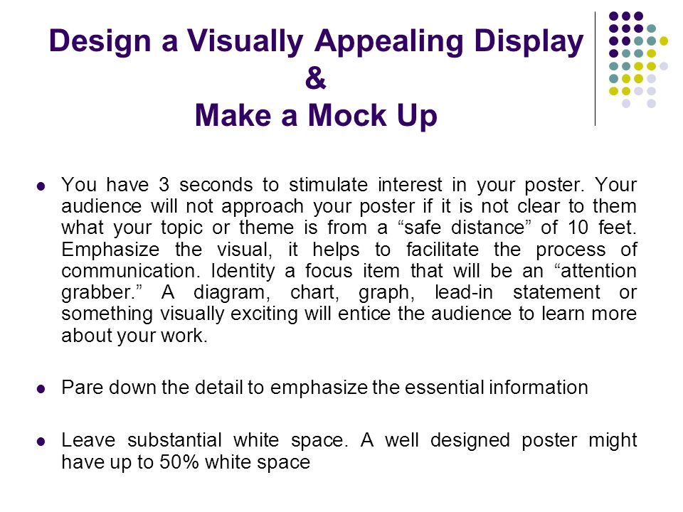 Design a Visually Appealing Display & Make a Mock Up