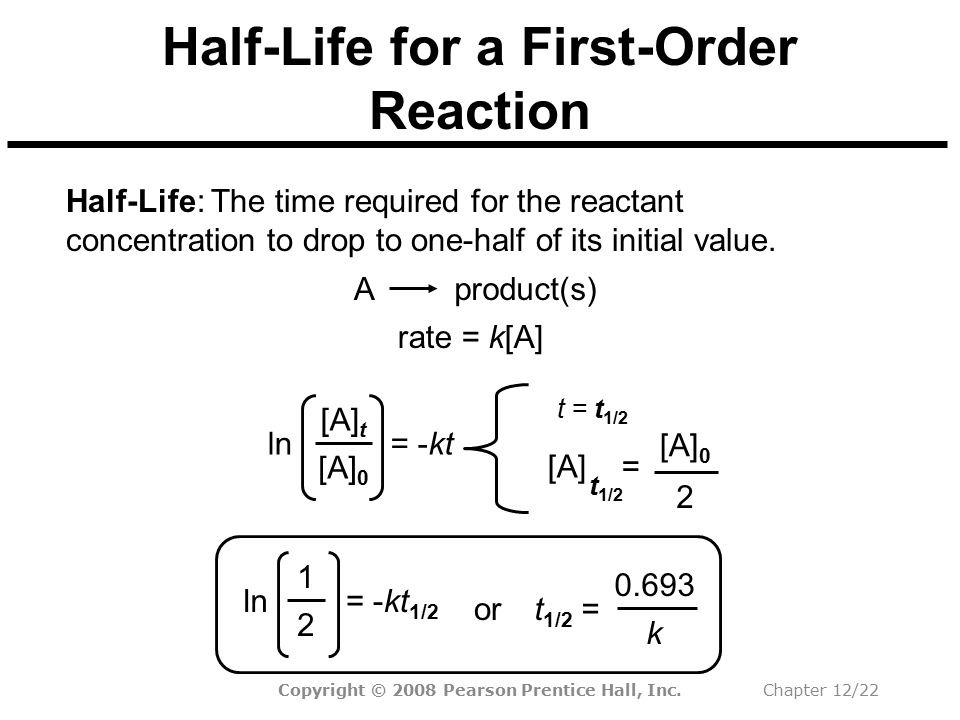 Half-Life for a First-Order Reaction