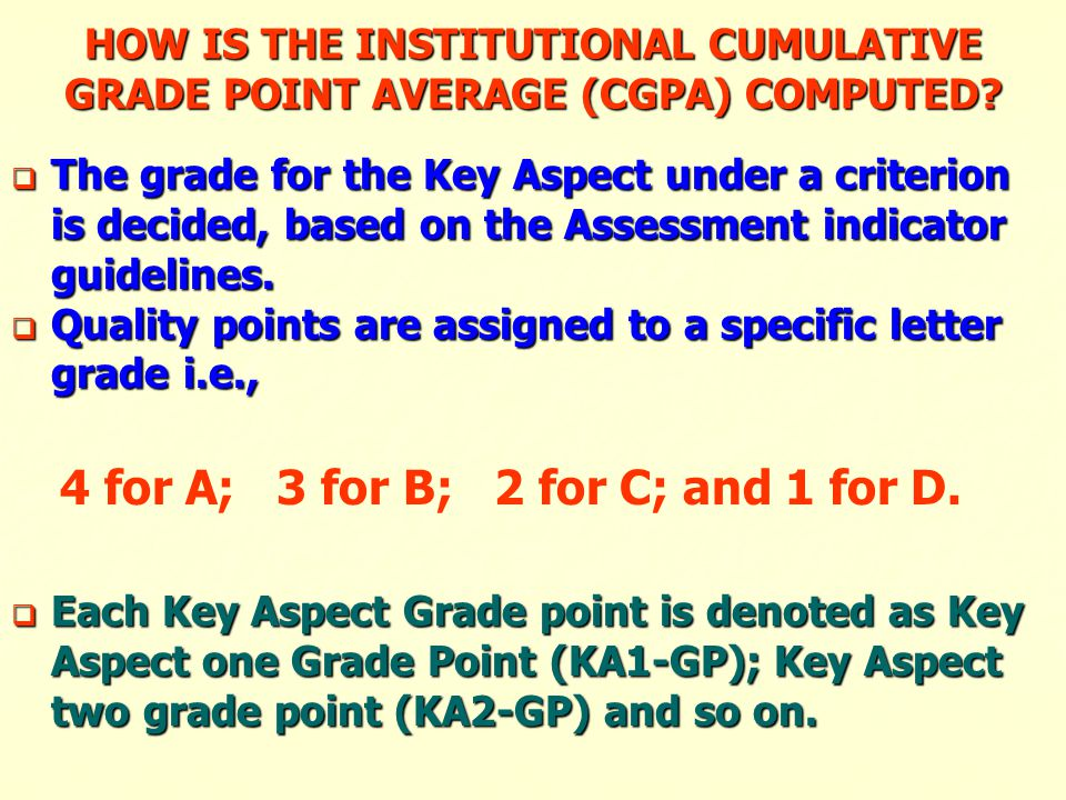 HOW IS THE INSTITUTIONAL CUMULATIVE GRADE POINT AVERAGE (CGPA) COMPUTED