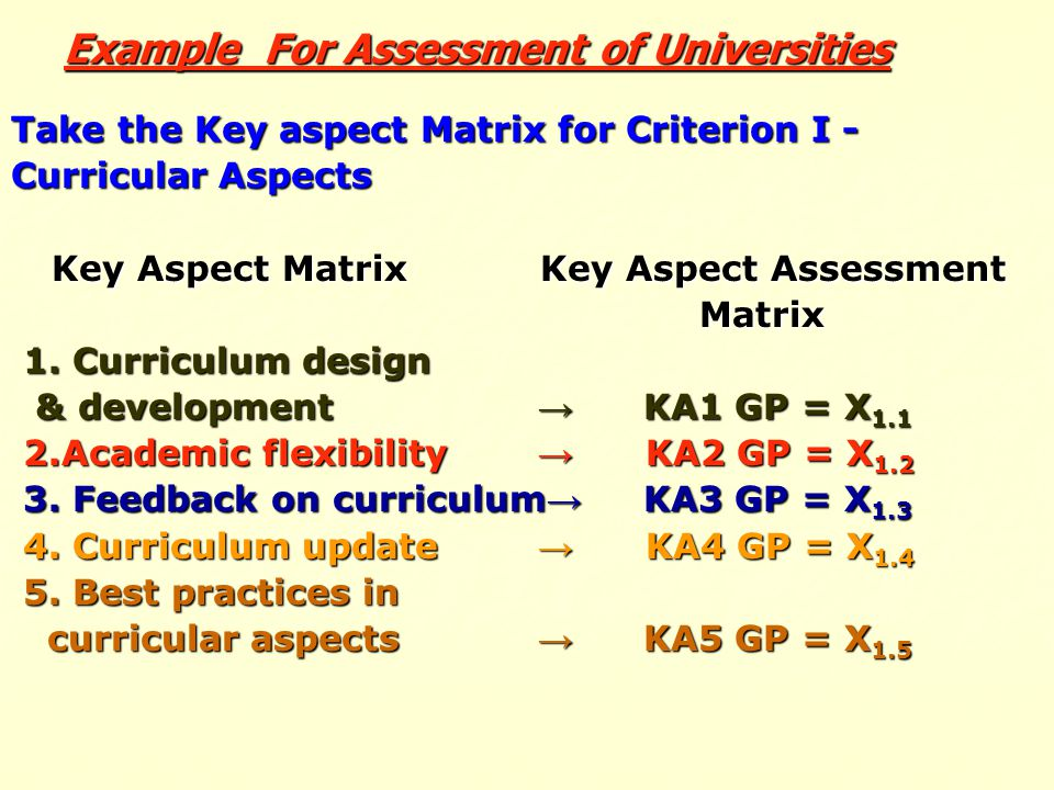 Example For Assessment of Universities